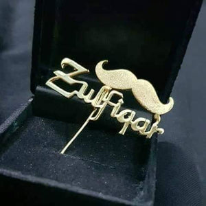 Personalized Name Mustache Style Brooches