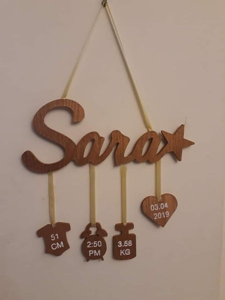 Personalized Handmade Wooden Wall Hanging(H 1.5 Feet x W 1Feet)