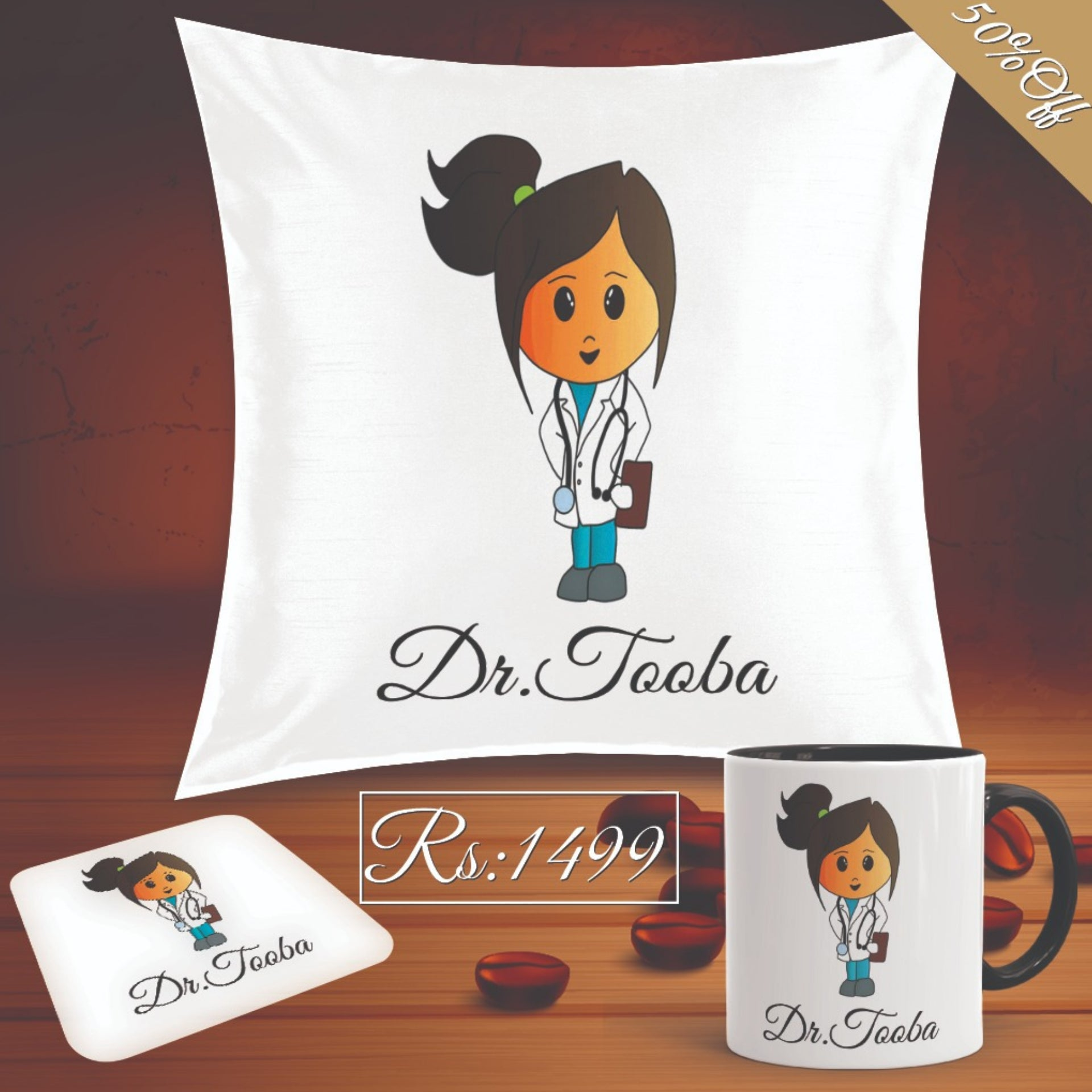 Dr Super Deal(Mug+Cushion+Coaster)