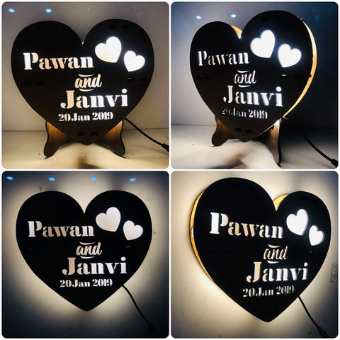 Custom Wooden Heart Shape Personalized Night Light(H 1.5 Feet x W 1 Feet)