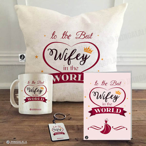 "Combo Gift Pack for Wife (16"" x 1"" Inch Cushion Cover with Filler + Printed Mug + Greeting Card + Printed Key Ring)"
