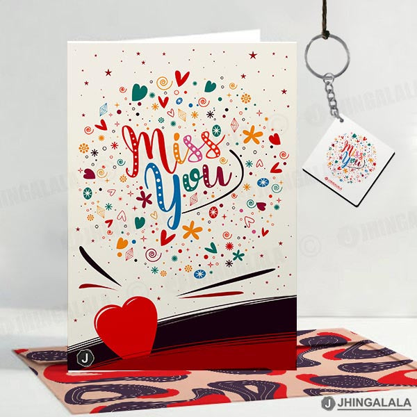 "Combo Gift Pack(16"" x 16"" Inch Cushion Cover with Filler + Printed Mug + Greeting Card + Printed Key Ring)"