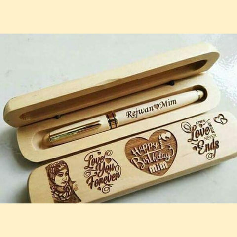 Wooden Text Engraved Pen-R02