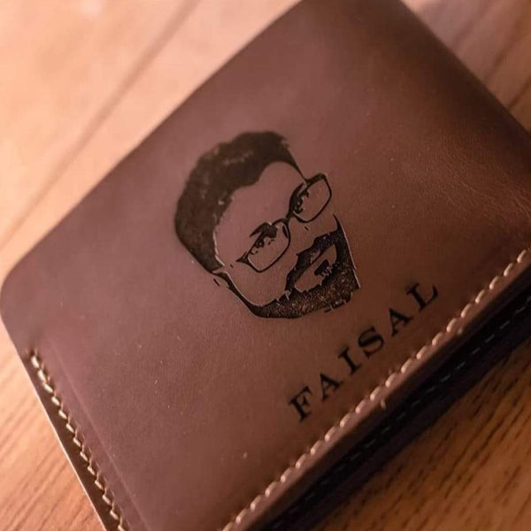Photo Engraved Leather Men's Wallet