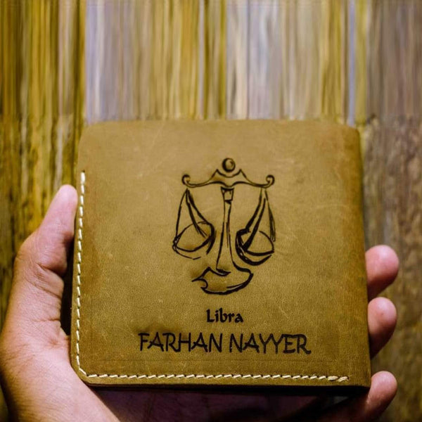 Engraved Zodiac Sign with Name Leather Men's Wallet