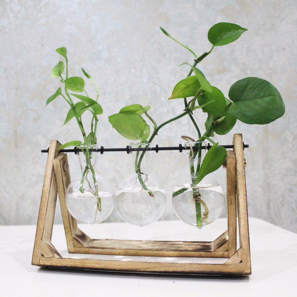 Wood Tray with Glass Vases