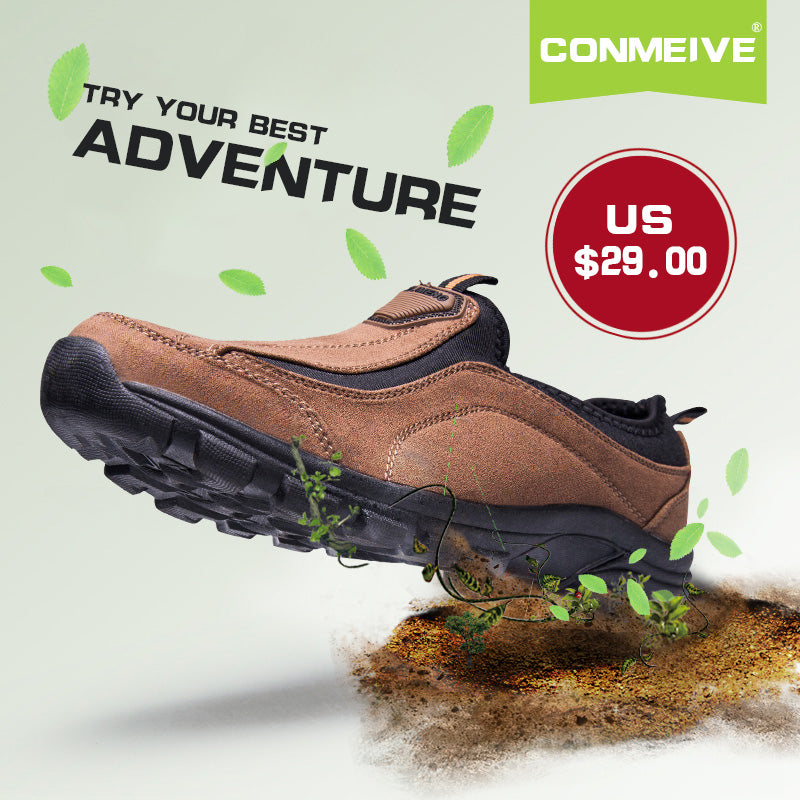Hiking Shoes Slip-on Leather