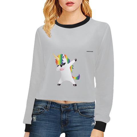 Sweat shirt à taille courte au design licorne Dab thug cropped sweat gris