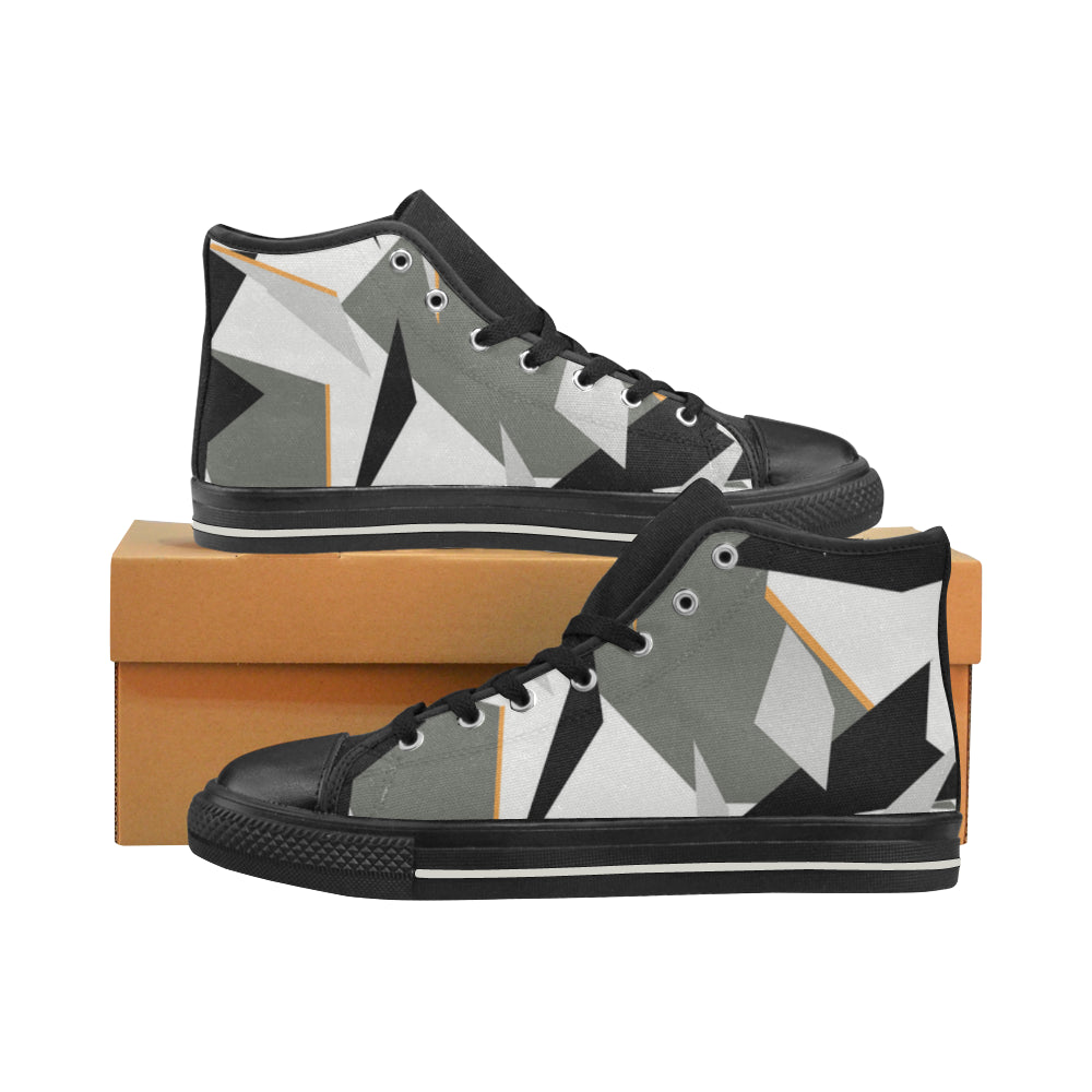 Baskets montantes noires en toile type Converse h/f Collection camouflage alpin
