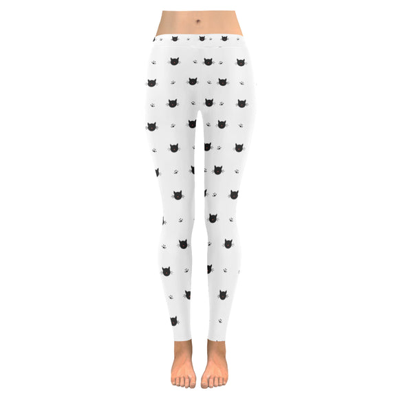 Legging au design têtes de chat blanc