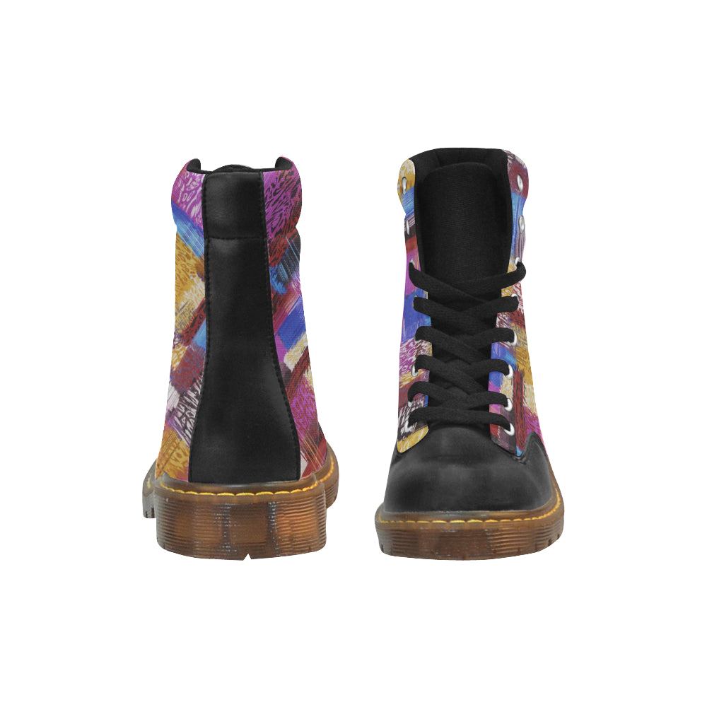 Boots de type Martens au design graffiti abstrait de couleurs face