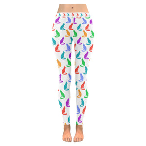 Legging blanc au design chats colorés