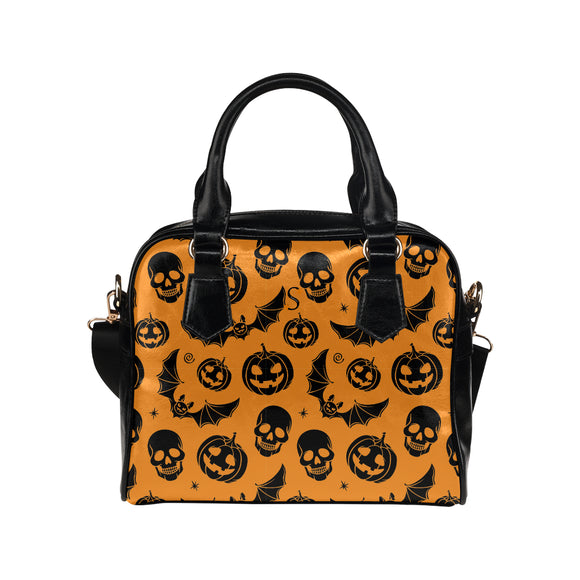 Sac à main en cuir au design halloween face