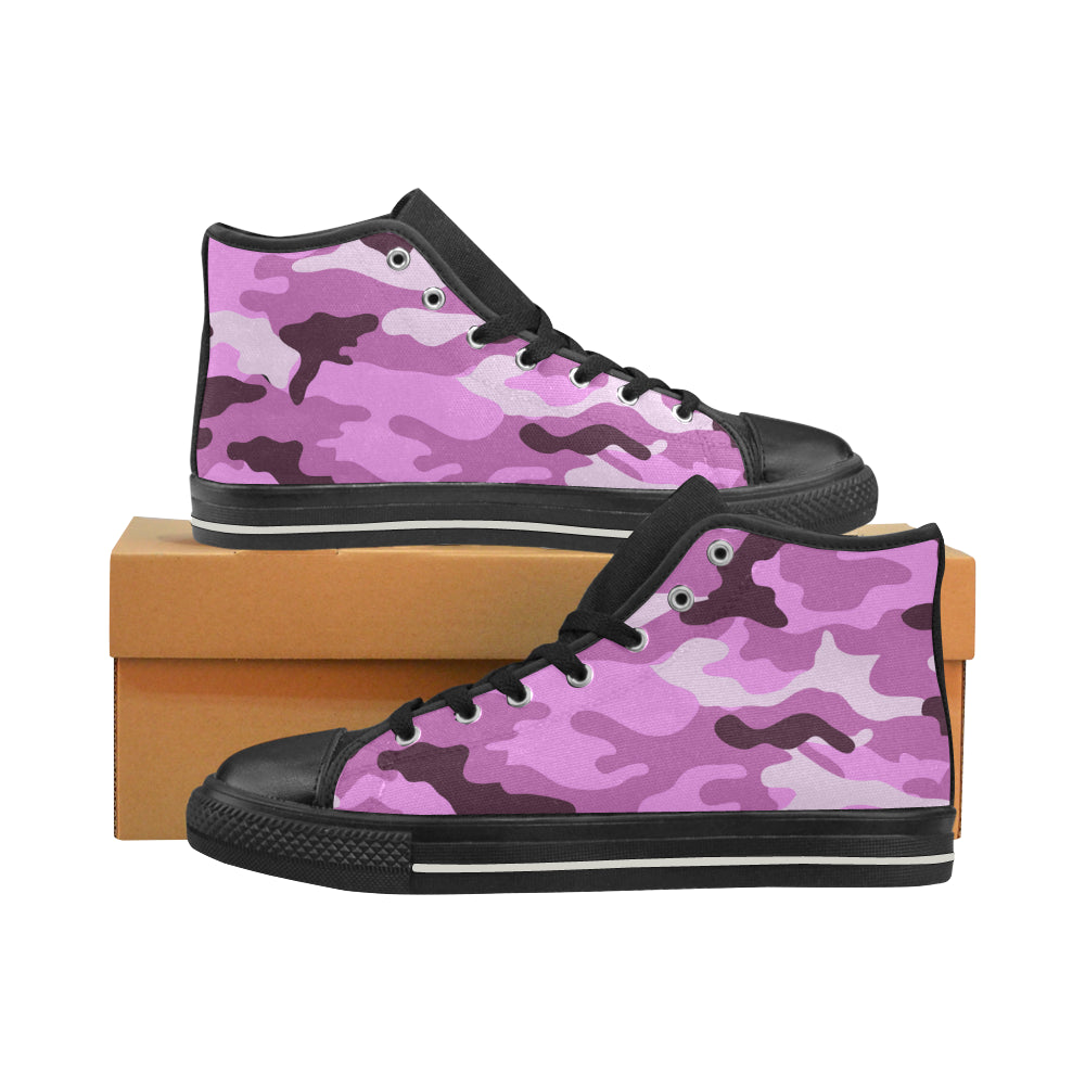 Baskets montantes noires en toile type Converse h/f Collection camouflage rose