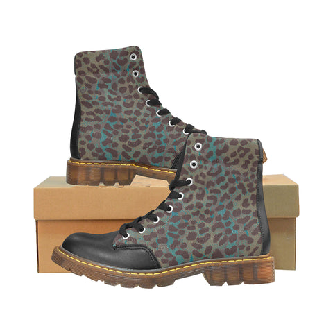 Boots type Martens au design peau d'alligator bleu