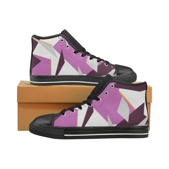 Baskets montantes noires en toile type Converse h/f Collection camouflage alpin rose