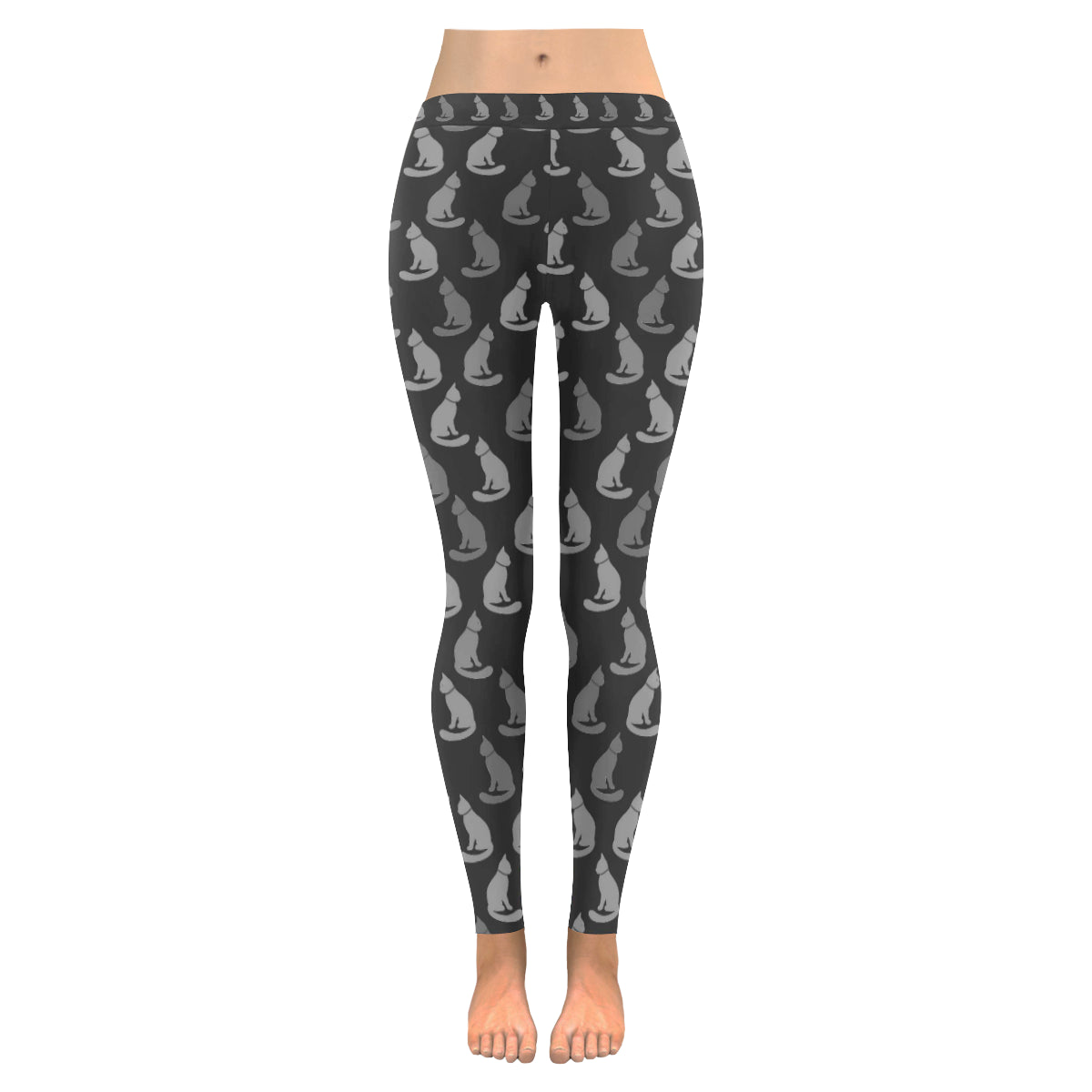 Legging au design chats gris noir
