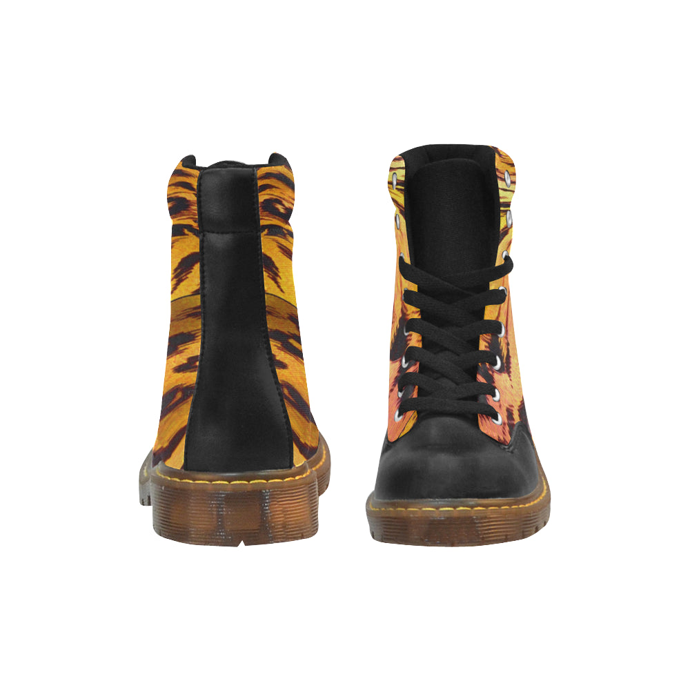 Boots de type Marteens au design peau de lion face