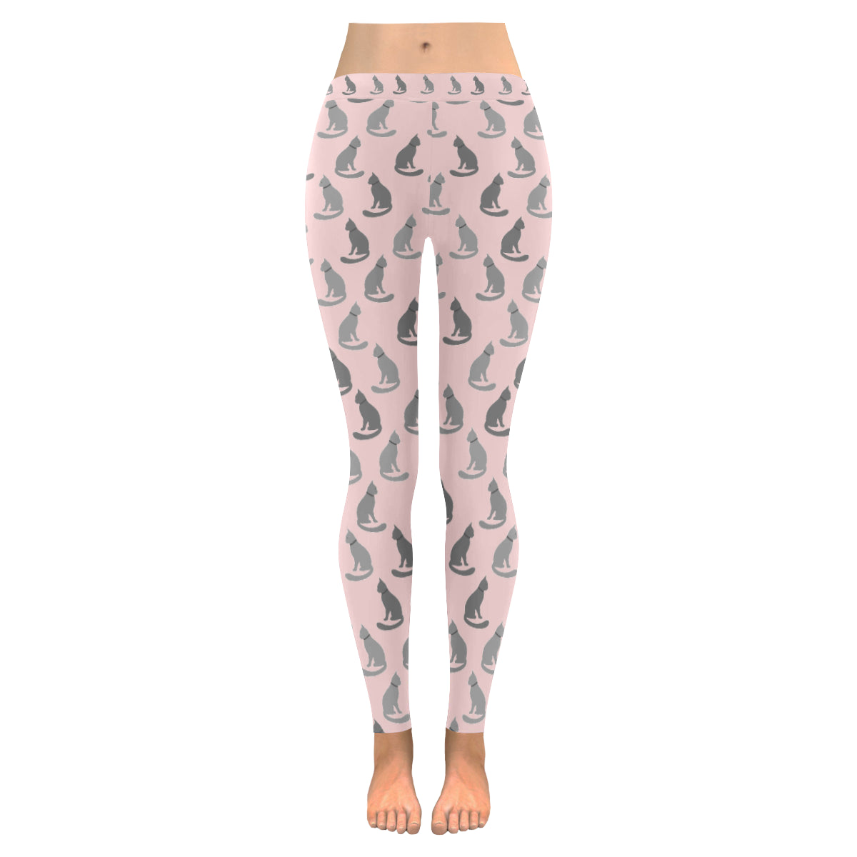 Legging au design chats gris rose