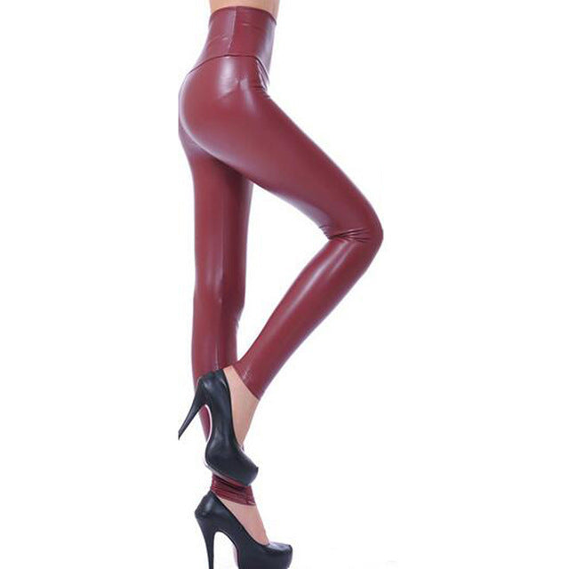 Legging sexy imitation cuir bordeaux