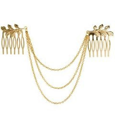 Golden Tone Leaf Hair Cuff Chain Comb Headband Hair Band Hot