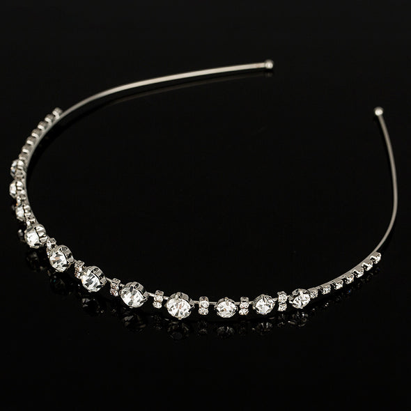 Sliver plated Chunky Chain Head Band Piece Crystal Hair  Headpiece Party Wear Accessory