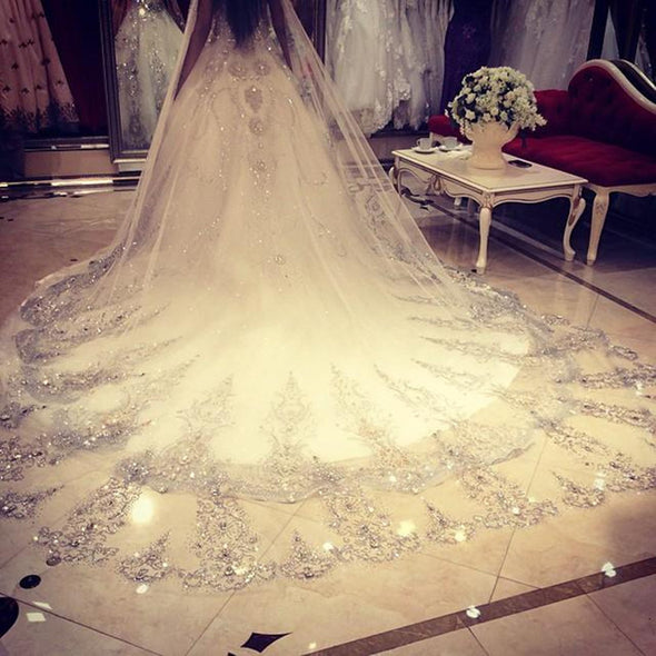 3.5 Meters Length 1.8M Width Crystals Rhinestones Cathedral Bridal Veils with Comb - Veilsandweddingaccessories