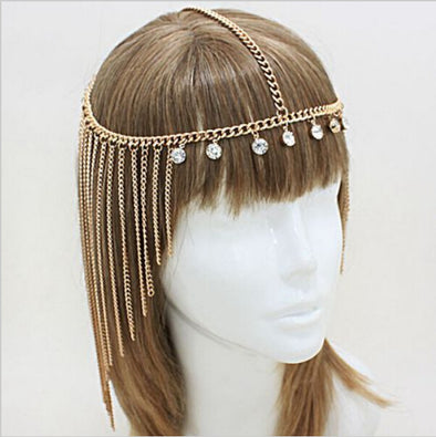 New Rhinestone Tassel Forehead Bohemian Hair Head Side Wave Chain