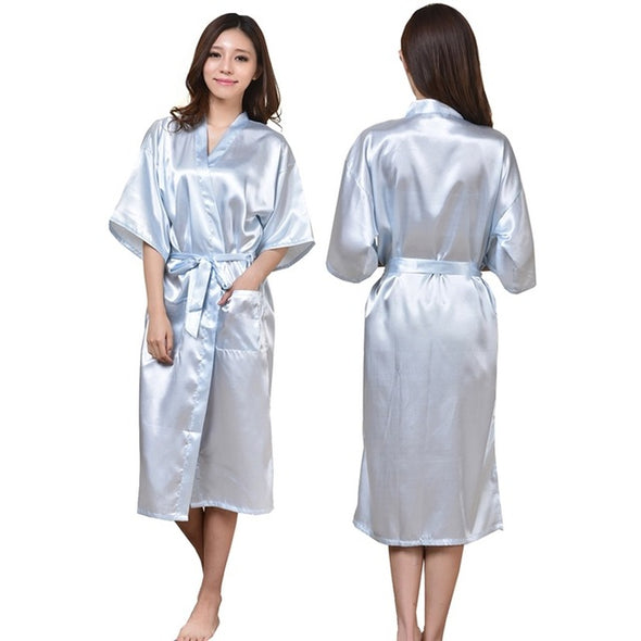 New Women Satin Kimono Robes Floral Bridesmaids Robe