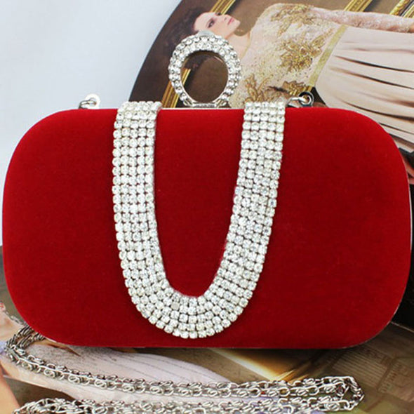 Flock Top Slap Closure Rhinestone Bridal/Wedding/ Evening Party Clutch Purse