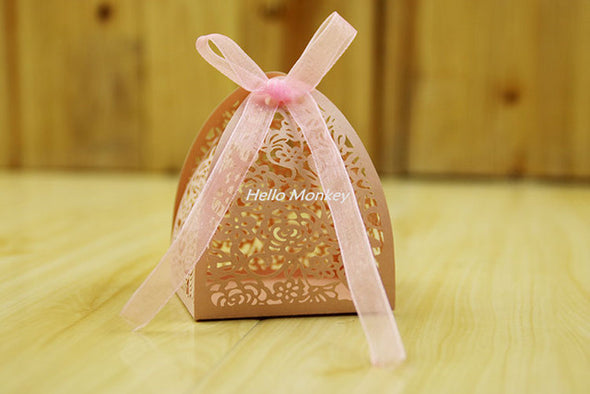 50pcs Lace Flower Design Laser Cutting Wedding Candy Box Wedding Gifts For Guests