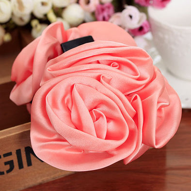 Beauty Ribbon Rose Flower Bow Jaw Clip Barrette Hair Claws Hair Accessories - Veilsandweddingaccessories