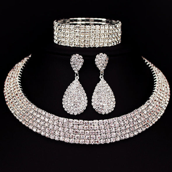 Bride Classic Rhinestone Crystal Choker Necklace Earrings and Bracelet Wedding Jewelry Sets