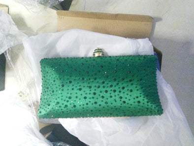 Sparkling Satin Single Strap Bridal/Wedding/ Evening Party Clutch Purse-Green