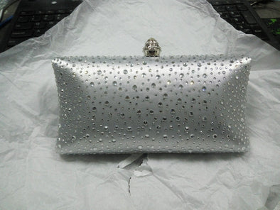 Sparkling Satin Single Strap Bridal/Wedding/ Evening Party Clutch Purse-Silver