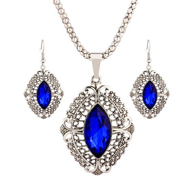 Retro Geometric Crystal Wedding Bridal Jewelry Sets