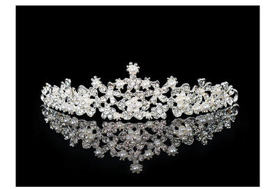 Luxury Pearl White Wedding Bridal Crystal Tiaras Crowns Headband Hair Accessories