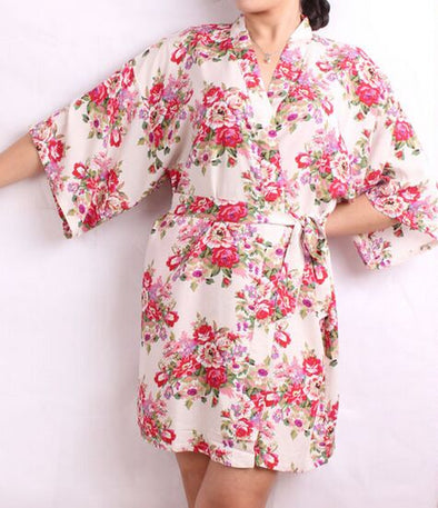 New Floral Robes Women Wedding Bridal Kimono Robe