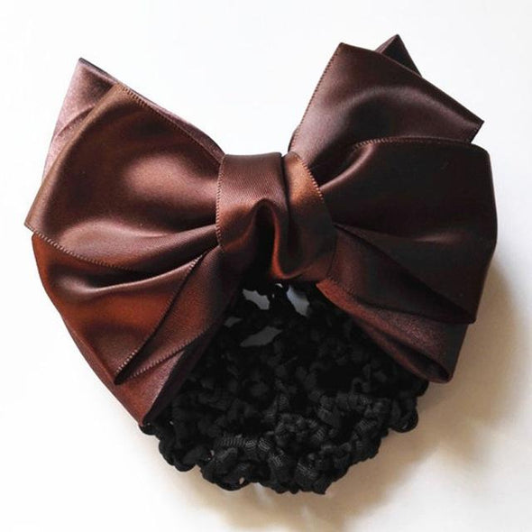 1 PC Sweet Satin Bow Barrette Lady Hair Clip Cover Bow knot Bun Snood Women Hair Accessories - Veilsandweddingaccessories