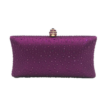 Sparkling Satin Single Strap Bridal/Wedding/ Evening Party Clutch Purse-Purple