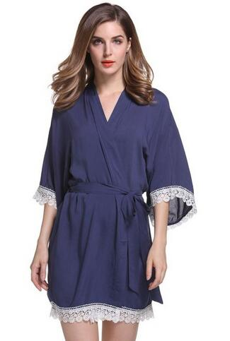 New Solid Cotton Kimono Robes With Lace
