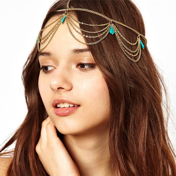 Blue  Excellent Style Women Head Chain Jewelry Headband Party Headpiece Hairs Band