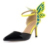 Ankle Strap : Pointed Toe Butterfly High Heels Sandals Shoe - Veilsandweddingaccessories