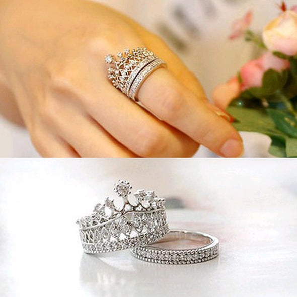 2 Pcs Crystal Imperial crown finger ring Bridal Set set - Veilsandweddingaccessories