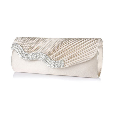 Satin Rhinestone Hasp Single Strap Socialite Bridal/Wedding/ Evening Party Clutch Purse