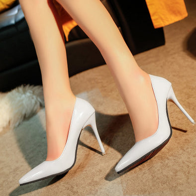 Zapatos Mujer Pointed Toe High Heel Patent Leather Shoe