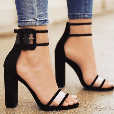 Buckle Strap Square Heels Round Toe Sandal-Black