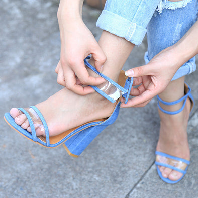 Buckle Strap Square Heels Round Toe Sandal-Sky Blue