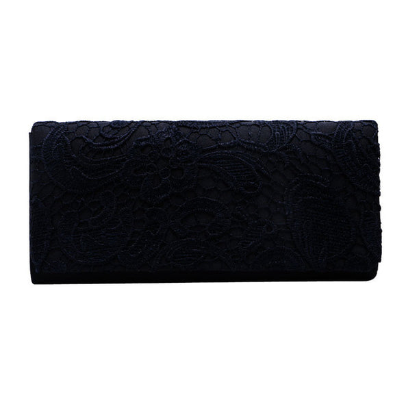 Woman Ladies Lace Floral Satin Party Evening Clutch