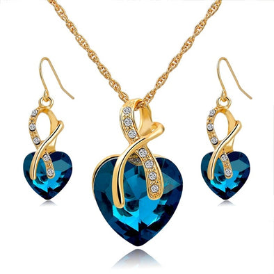 Crystal Gold Plated Heart Shape Necklace Earrings Bridal  Jewelry Set